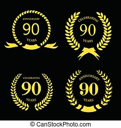 80 ninety years  icon Template for celebration and congratulation design. 80th anniversary laurel gold set. Vector