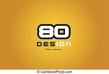 80 number numeral digit white on yellow background