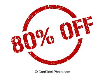 80% off stamp - 80% off red round stamp