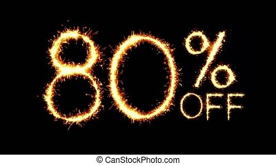 80% Off Text Sparkler Glitter Sparks Firework Loop Animation...