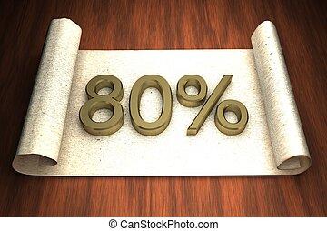 80 per cent, golden numbers, over open paper, 3d rendering