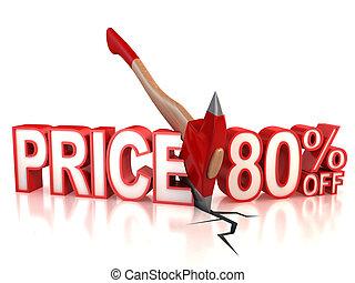 80 percent discount 3d concept