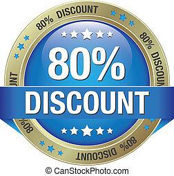 80 percent discount blue gold button
