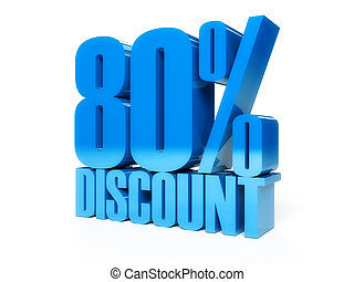 80 percent discount. Blue shiny text. Concept 3D illustration.