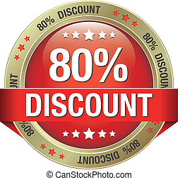 80 percent discount red gold button