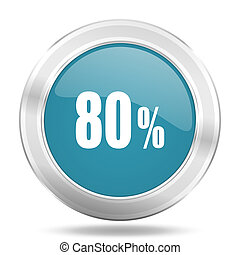 80 percent icon, blue round glossy metallic button, web and mobile app design illustration