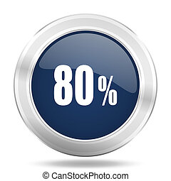 80 percent icon, dark blue round metallic internet button, web and mobile app illustration