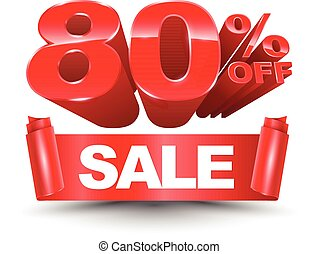 80 percent off sale red ribbon
