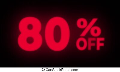 80 Percent Off Text Blinking Flickering Neon Red Sign Promotional Loop Background. Sale, Discounts, Deals, Special Offers. Green Screen and Alpha Matte