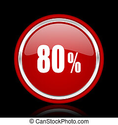 80 percent red glossy cirle web icon on black bacground
