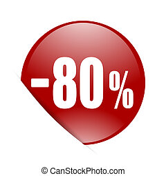 80 percent sale retail red circle glossy web icon