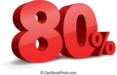 80, percento, illustrazione