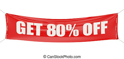 80 %, sale and discount concept