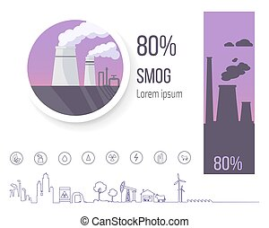 80 Smog Polution Poster with Factory Illustration