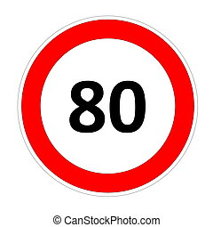 80 speed limit sign - 80 speed limitation road sign in white...