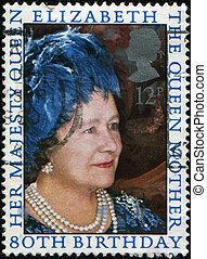 UNITED KINGDOM - CIRCA 2006: A stamp printed in UK honoring 80th Birthday of Queen Elizabeth II, circa 2006