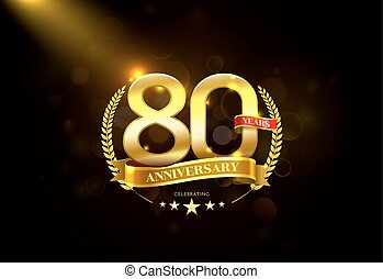 80 Years Anniversary with laurel wreath Golden Ribbon