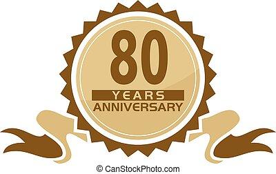 80 Years Ribbon Anniversary