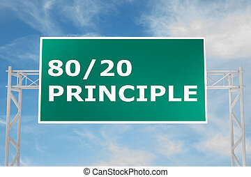 80/20 Principle concept - 3D illustration of '80/20...