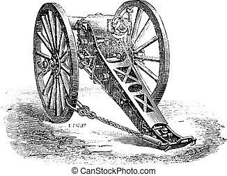 80mm, vendimia, 1878., canon, modelo, montaña, engraving.