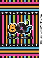 80's, dança, partido, cartaz