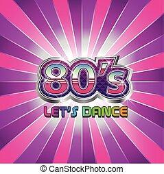 80s, dança, partido, ilustração