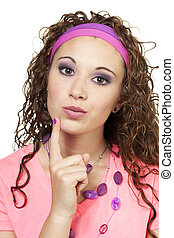 80s dressed girl with her finger on chin