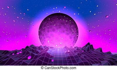 80's Fluorescent Day And Night Series - Retro futuristic...