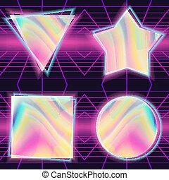 80s, fundo, vector., holographic, backdrop., retro, sci-fi., ilustração