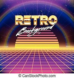 80s, futurismo, scifi, fundo, retro