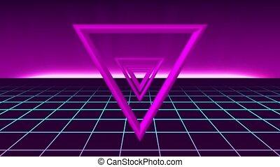 80s, futuriste, faire boucle, néon, fond
