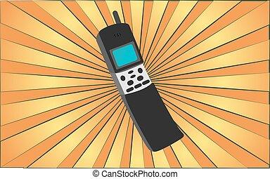 80s, jaune, hipster, contre, 90s, vecteur, 70s, 2000s, illustration, vieux, téléphone, retro, résumé, rays., antiquité, mobile, fond, antenne