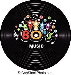80s, música, discography., vetorial, ilustração