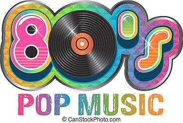 80s, música pop, disco del vinilo, logotipo
