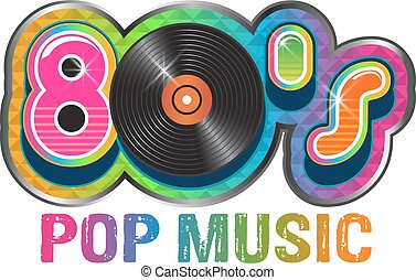 80s, música popular, disco vinil, logotipo