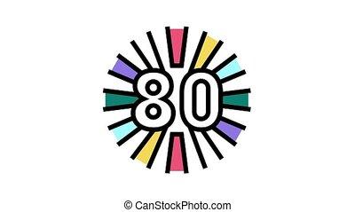 80s nostalgia animated color icon. 80s nostalgia sign. isolated on white background