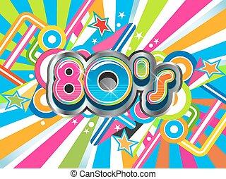 80s, party, abbildung, logo