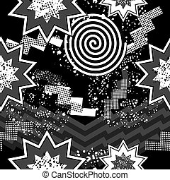 80s pop art seamless pattern in black and white - Black and...