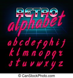 80's retro alphabet font. Glow effect shiny lowercase ...