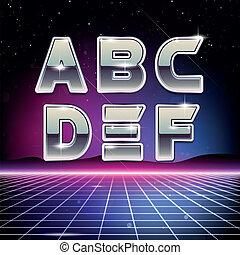 80s, retro, fonte, sci-fi, f