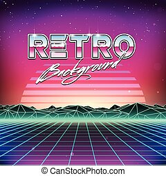 80s Retro Futurism Sci Fi Background - 80s Retro Futurism ...
