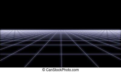 80s Retro Futurism wireframe Background 3d render 2