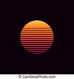 80s retro sunset vector illustration