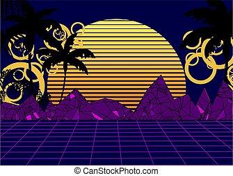 80s summer retro neon background poster