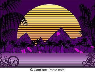 80s sunset retro neon background