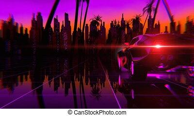 80s, voiture, style, retro-futuristic