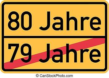 80th birthday - roadsign german