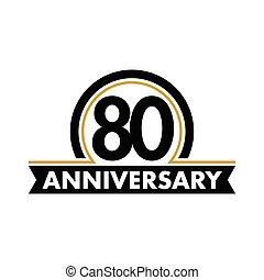 80th, vecteur, anniversaire, inhabituel, symbole., jubilee., circle., anniversaire, seventieth, logo., 80, arc, label., résumé, années