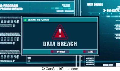 82. Data Breach Warning Notification on Digital Security Alert on Screen.
