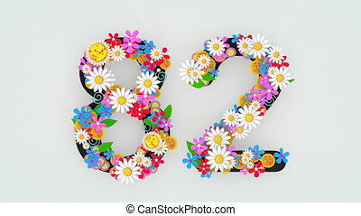 """82."""", floral, animation, """"numerical, chiffre"""